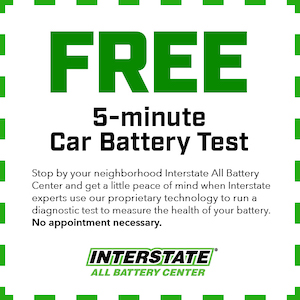 A coupon for free battery testing at Interstate All Battery Center Las Vegas