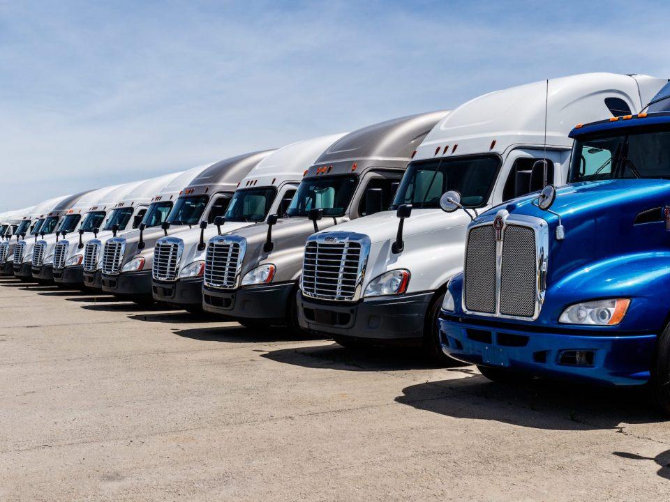 A row of semi trucks where fleet management is key.